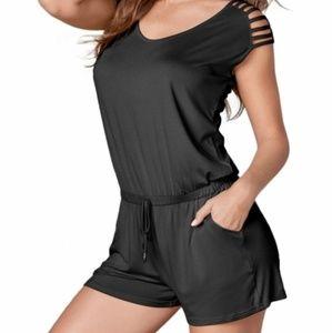 Black Loose Fitting Short Jumpsuit